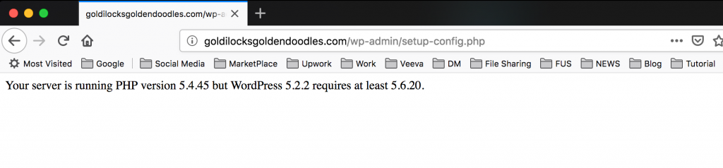 your server is running PHP version 5.4