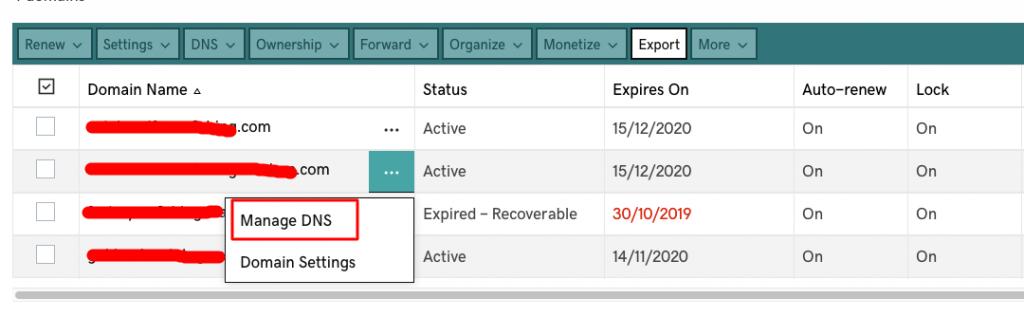 Godaddy Managed WordPress - 9 manage DNS